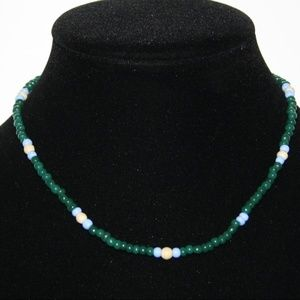 Beautiful green and blue beaded necklace 16""